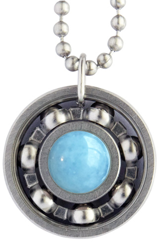 Aquamarine Roller Derby Skate Bearing Pendant Necklace – March Birthstone