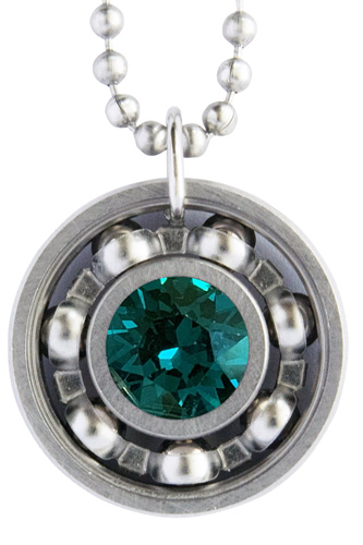 Emerald Green Crystal Roller Derby Skate Bearing Pendant Necklace – May Birthstone