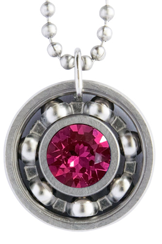 Fuchsia Crystal Roller Derby Skate Bearing Pendant Necklace