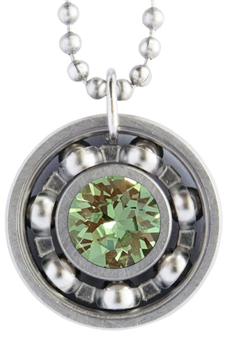 Peridot Crystal Roller Derby Skate Bearing Pendant Necklace – August Birthstone