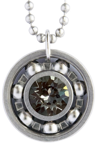 Silver Night Crystal Roller Derby Skate Bearing Pendant Necklace