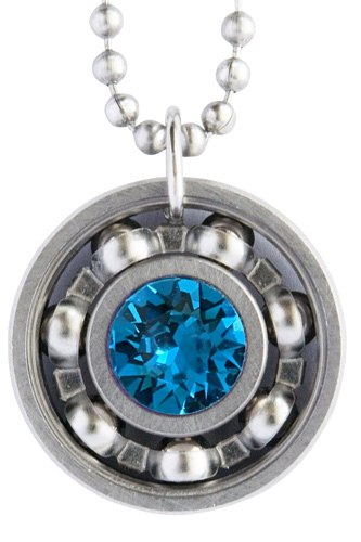 Zircon Crystal Roller Derby Skate Bearing Pendant Necklace – December Birthstone