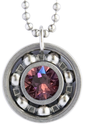 Amethyst Crystal Roller Derby Skate Bearing Pendant Necklace – February Birthstone
