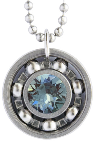 Indian Sapphire Crystal Roller Derby Skate Bearing Pendant Necklace