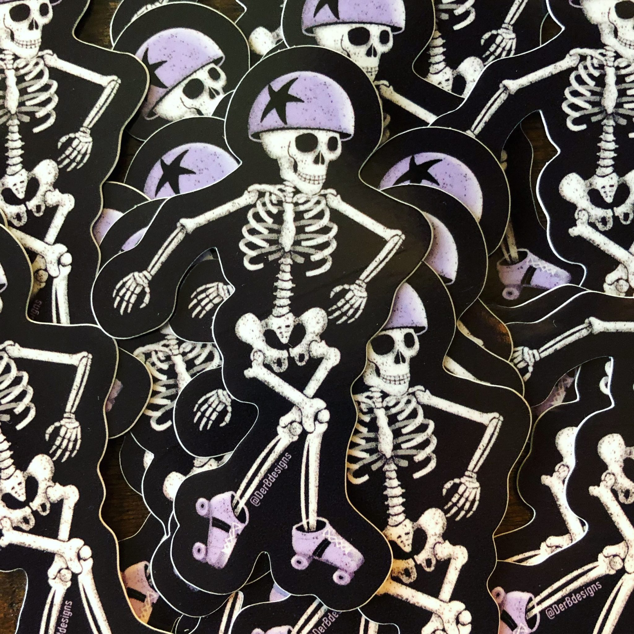 roller derby skating skeleton vinyl sticker