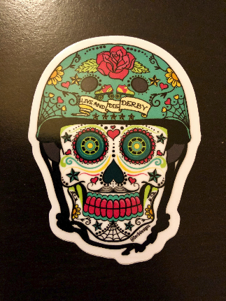 Derby de los Muertos – Roller Derby Skate Sugar Skull 2.75 in. vinyl sticker
