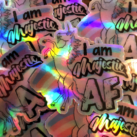 I am majestic AF. roller skating trans pride unicorn. Holographic roller derby vinyl sticker.