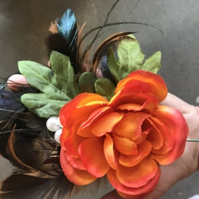 Feather and flower hair pick