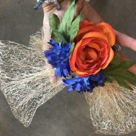 Orange and blue hair barrette