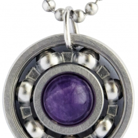 Amethyst Roller Derby Skate Bearing Pendant Necklace