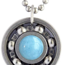 Aquamarine Roller Derby Skate Bearing Pendant Necklace