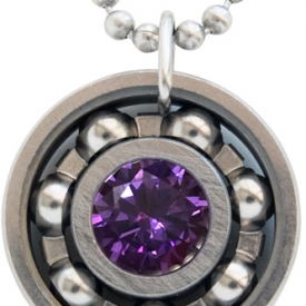 Amethyst Purple CZ Roller Derby Skate Bearing Pendant Necklace