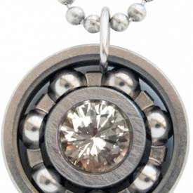 Diamond CZ Roller Derby Skate Bearing Pendant Necklace