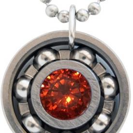 Orange CZ Roller Derby Skate Bearing Pendant Necklace