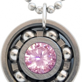 Pink Ice CZ Roller Derby Skate Bearing Pendant Necklace