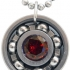 Ruby Red CZ Roller Derby Skate Bearing Pendant Necklace