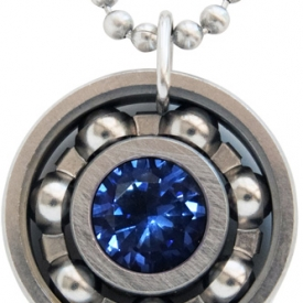 Sapphire Blue CZ Roller Derby Skate Bearing Pendant Necklace