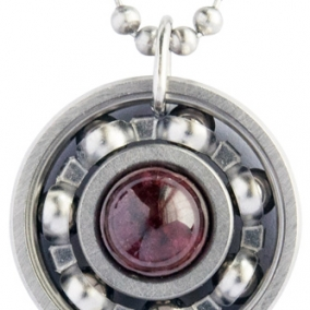 Garnet Roller Derby Skate Bearing Pendant Necklace