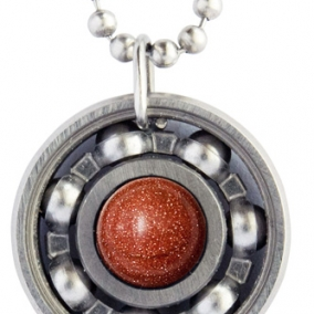 Goldstone Roller Derby Skate Bearing Pendant Necklace