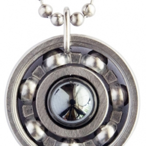 Hematite Roller Derby Skate Bearing Pendant Necklace