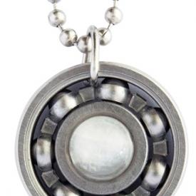Moonstone Roller Derby Skate Bearing Pendant Necklace