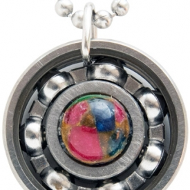 Ruby, Emerald & Sapphire Roller Derby Skate Bearing Pendant Necklace