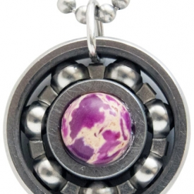Purple Sea Sediment Roller Derby Skate Bearing Pendant Necklace