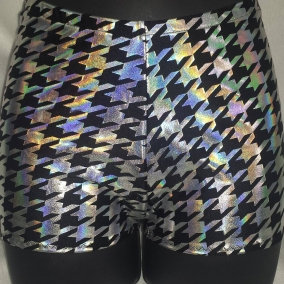 Holographic Silver Houndstooth Short and Sweet roller derby style shorts, made to order