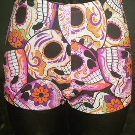 Sugar Skulls Short and Sweet style roller derby shorts, made to order