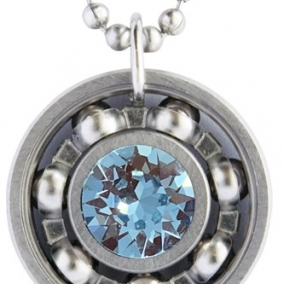 Aquamarine Crystal Roller Derby Skate Bearing Pendant Necklace – March Birthstone
