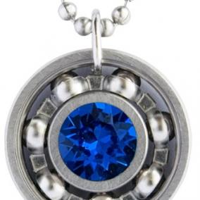 Capri Blue Crystal Roller Derby Skate Bearing Pendant Necklace