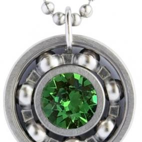 Fern Green Crystal Roller Derby Skate Bearing Pendant Necklace