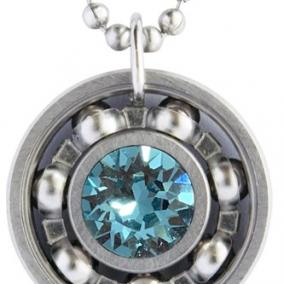 Light Turquoise Crystal Roller Derby Skate Bearing Pendant Necklace – December Birthstone