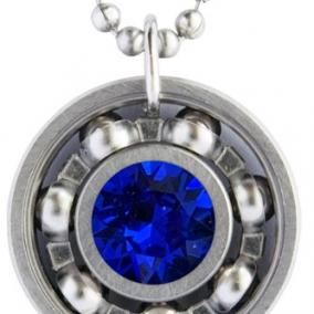 Majestic Blue Crystal Roller Derby Skate Bearing Pendant Necklace