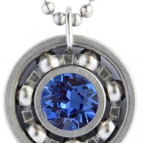 Sapphire Blue Crystal Roller Derby Skate Bearing Pendant Necklace – September Birthstone