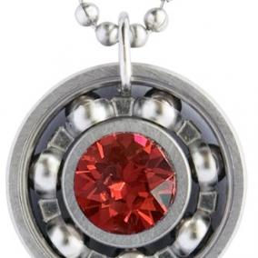 Scarlet Crystal Roller Derby Skate Bearing Pendant Necklace
