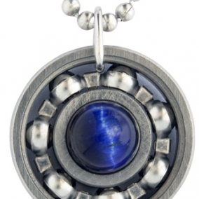 Blue Tiger's Eye Roller Derby Skate Bearing Pendant Necklace