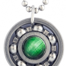 Green Tiger's Eye Roller Derby Skate Bearing Pendant Necklace