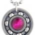Pink Tiger's Eye Roller Derby Skate Bearing Pendant Necklace