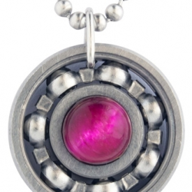 Pink Tiger's Eye Roller Derby Skate Bearing Pendant Necklace