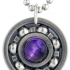 Purple Tiger's Eye Roller Derby Skate Bearing Pendant Necklace