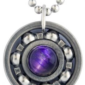 Purple Tiger's Eye Roller Derby Skate Bearing Pendant Necklace