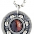Red Tiger's Eye Roller Derby Skate Bearing Pendant Necklace