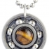 Yellow Tiger's Eye Roller Derby Skate Bearing Pendant Necklace
